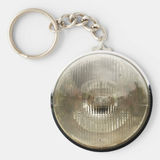 Classic car headlamp with round clear glass lens keychain