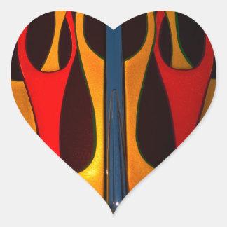 Classic Car Hood Flame Paint Heart Sticker
