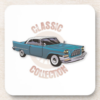 Classic car in blue with white hard top drink coaster