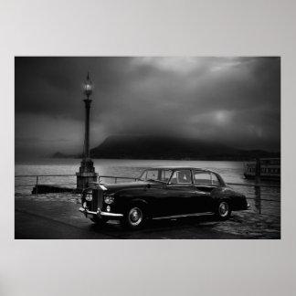 Classic Car in Fog Under Street Lamp Poster