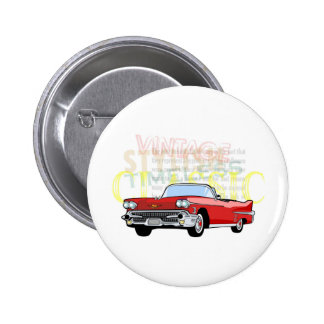 Classic car, old vintage convertible in red buttons