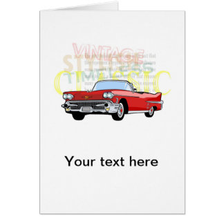 Classic car, old vintage convertible in red card
