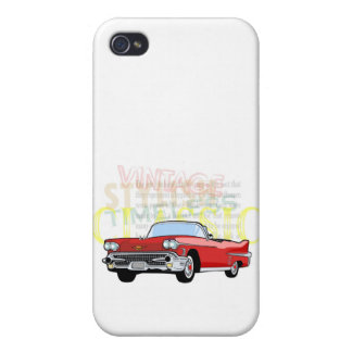 Classic car, old vintage convertible in red iPhone 4 cases