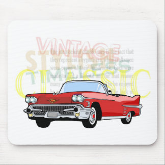 Classic car, old vintage convertible in red mousepads