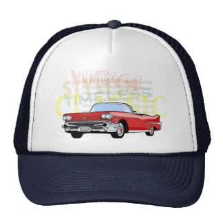 Classic car, old vintage convertible in red trucker hat