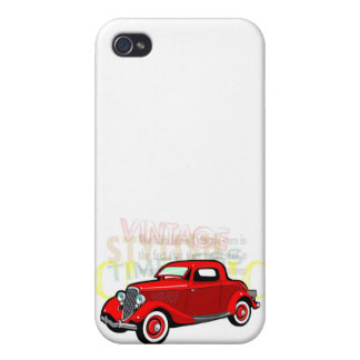 Classic car, old vintage coupe in red iPhone 4 cover