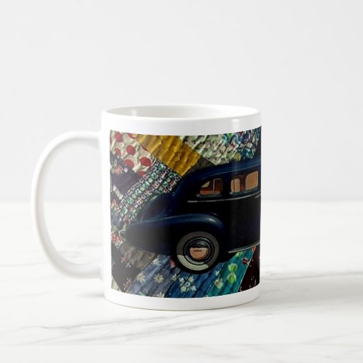 Classic Car on Quilt, Navy Coffee Mug