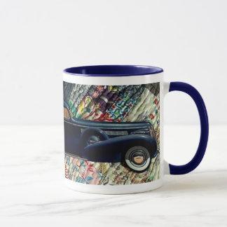 Classic Car on Quilt, Navy-mod Mug