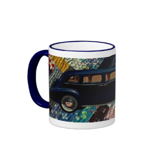 Classic Car on Quilt, Navy-mod Coffee Mugs