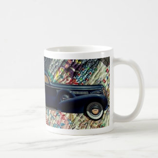 Classic Car on Quilt, Navy Coffee Mugs