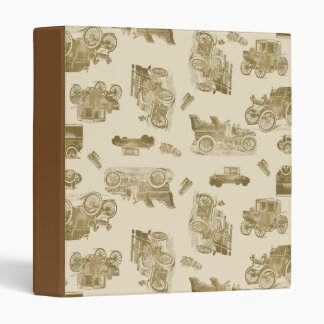 Classic Car Pattern in Shades of Brown Binder