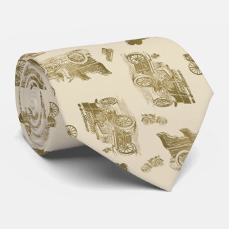 Classic Car Pattern in Shades of Brown Tie