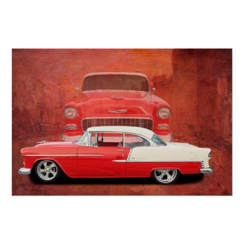 Classic Car Poster 1955 1956 Chevy 55 56