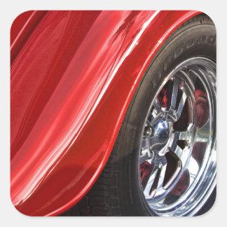 Classic Car Rear Wheel Square Sticker