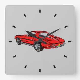 Classic Car Red 1963 Corvette Design Wall Clock