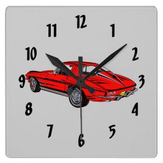 Classic Car Red 1963 Corvette Design Wall Clock