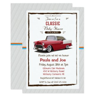 Classic Car Retro Baby Shower Invitation