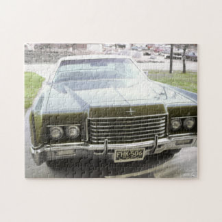 Classic Car, Retro Big Green Car in Driveway Jigsaw Puzzle