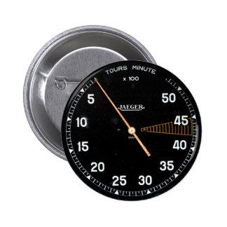 Classic car rev counter, vintage tachometer gauge pinback button
