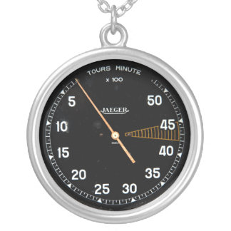 Classic car rev counter, vintage tachometer gauge silver plated necklace