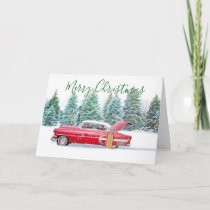 Classic Car Snow Scene Christmas Card