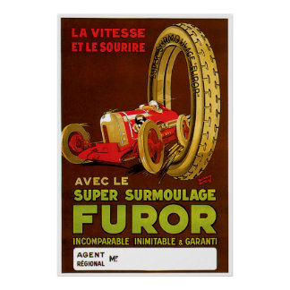 Classic Car Tire Advertisement Poster