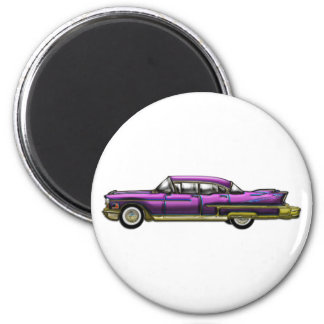 Classic Car with Finns 2 Inch Round Magnet