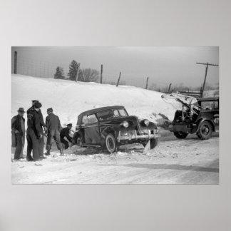Classic Car Wreck, 1940 Poster