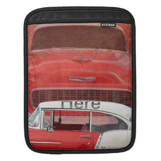 Classic Cars Chevy Bel Air Dodge Red White Vintage iPad Sleeve