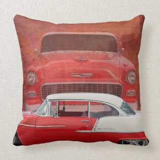 Classic Cars Chevy Bel Air Dodge Red White Vintage Throw Pillow