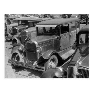 Classic Cars Greensboro, Georgia 1940s Postcard