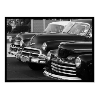 Classic Cars in black and white canvas print