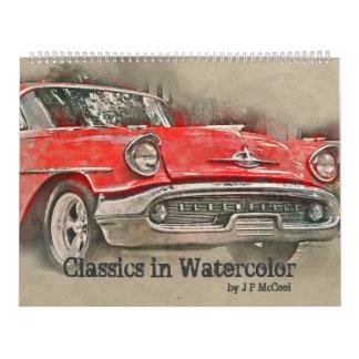 Classic Cars in Watercolor Calendar