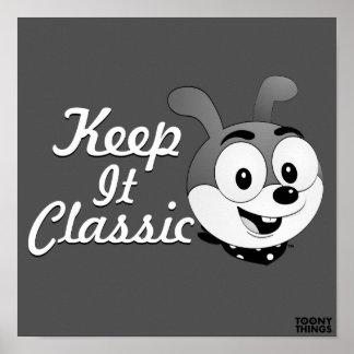 Classic Cartoon Bunny grey Poster
