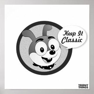 Classic Cartoon Bunny White Poster