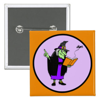 Classic Cartoon Halloween Witch 2 Inch Square Button