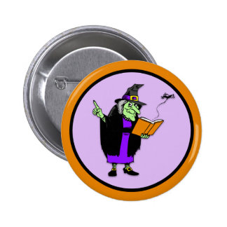 Classic Cartoon Halloween Witch Button