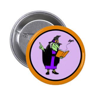 Classic Cartoon Halloween Witch Button