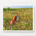 Classic Cello in a field of wildflowers Mouse Pads