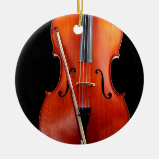 Classic cello on black Double-Sided ceramic round christmas ornament