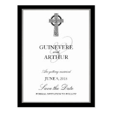 Classic Celtic Cross Wedding Save The Date Postcard at Zazzle