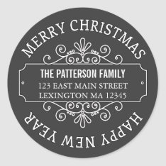 Classic Chalkboard Merry Christmas Label at Zazzle