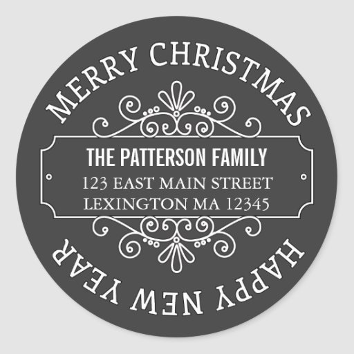 Classic Chalkboard Merry Christmas Label Round Stickers