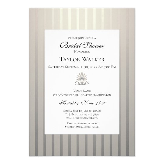 classic champagne beige ivory pearl bridal shower invitation