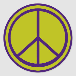 Classic Chartreuse Green Peace Sign Classic Round Sticker