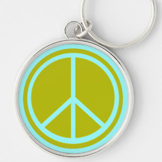Classic Chartreuse Green Peace Sign Keychain
