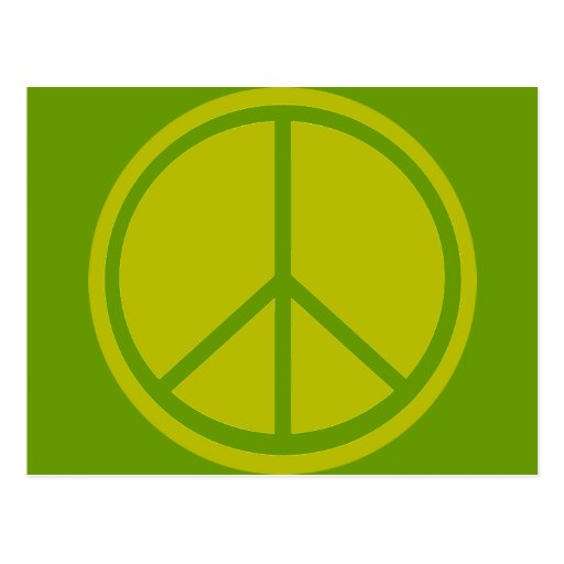 Classic Chartreuse Green Peace Sign Postcard