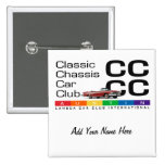 Classic Chassis Car Club Name Tag Button