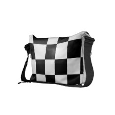 Classic Checkered I Bleed Racing Check Black White Small Messenger Bag at Zazzle