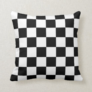 Classic Checkered I Bleed Racing Check Black White Throw Pillow